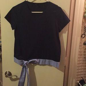 J. Crew Navy Shirt w/ Bottom Tie Size S